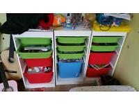 Ikea trofast kids storage units with boxes