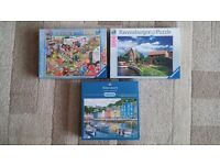 3 JIGSAW PUZZLES 1000 PIECES - 2 RAVENSBURGER AND 1 GIBSON