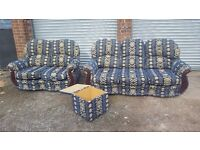 Comfy 3 piece sofa suite, 3 + 2 seater sofas and matching footstool.good used condition.can deliver
