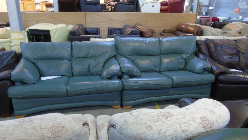 Outstanding Pre Owned Contour Mobel 2 X 2 Seater Sofas In Mid Blue Green Leather In Fforestfach Swansea Gumtree Ibusinesslaw Wood Chair Design Ideas Ibusinesslaworg