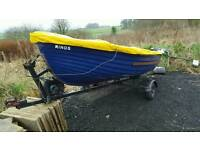 14ft simulated clinker fishing boat 5hp 4- outboard