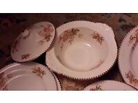 Vintage Dinner Set, Lidded Veg Serving Bowls, Serving, Dinner and Side Plates etc.