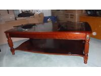 Light Mahogany and glass coffee table