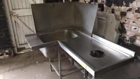 Stainless steel catering corner sink unit