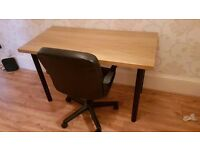 Large desk and swivel chair