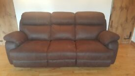 Brown faux suede 3 seater electric reclining sofa