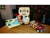 Sylvanian families caravan and car with accessories.