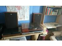Sony record player tape deck and speakers