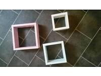 Set of 3 pastel box shelves for girls room