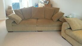 4 Seater and 3 seater beige sofas for sale. Comfortable with scatter back cushions.