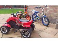 kids bikes and Quad