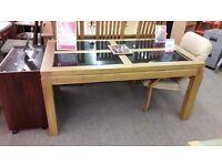 Large Light Wood Table w/4 Black Panels