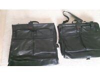 2 TUMI BLACK LEATHER GARMENT BAGS