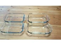 Glass oven dishes x 4 (14x23cm)