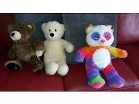 3x Build-a-Bear Bears: Rainbow Bear and 2 others