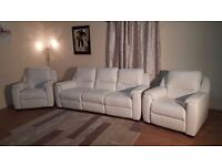 Ex-display Italian Avola white leather electric recliner 3 seater sofa and 2 armchairs