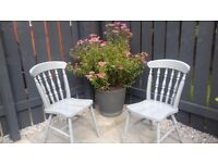 2 x shabby chic slate grey dining chairs