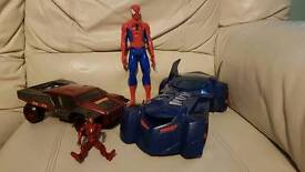 Batmobile and Iron man toy car with figure + large Spiderman figure £10 (marvel)