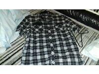 Mens ZZ designer shirt Black and White checkered size XL