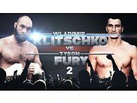 PAIR OF TICKETS. Tyson Fury vs Wladimir Klitschko the Rematch. Manchester Arena 29/10/16