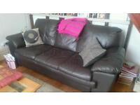 Leather sofa three seater