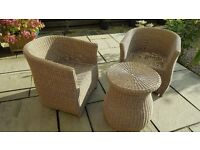 B&Q Comoro Natural Rattan Effect 2 Seater Bistro Set - INCLUDES CUSHIONS