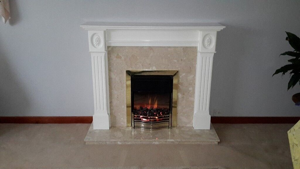 Electric Coal Effect Fire With Marble and Wood Surround