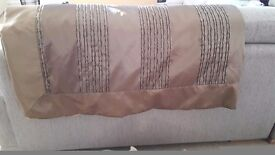 BED THROW CURTAINS CUSHION SET BRONZE GOLD