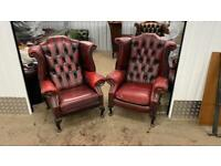 Stunning pair of leather chesterfield wing back chairs £800