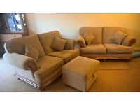 TWO two seater settees plus storage foot stool