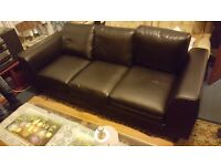 Cheap 3 seater black leather sofa for sale