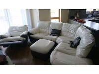 Large corner or arc white leather sofa