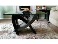 Glass topped coffee table black and grey
