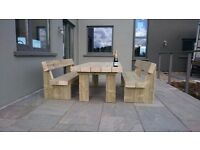 Garden table railway sleeper table garden furniture set seat bench Summer LoughviewJoineryLTD