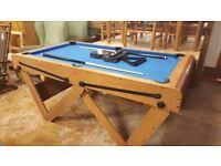 Riley 6ft W Leg Pool Table - Snooker & Pool Balls, Cues - Folding