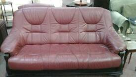 Dark red leather 3 seater sofa with matching chair