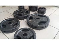 140KG MARCY OLYMPIC WEIGHTS SET INCLUDES 7FT OLYMPIC BARBELL AND WEIGHT PLATES
