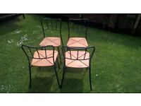 Set of 4 kitchen/dining chairs, black/wood, good condition