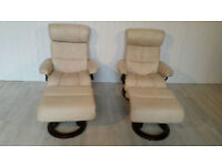Pair of Ekornes Stressless Recliner Armchairs with Footstools
