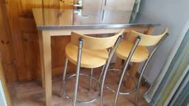 Stainless steel bar table and 2 stools