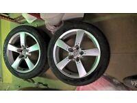 2x 245/45/ZR18 100Y XL part worn tires with 18 inch rims