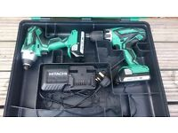 "NO OFFERS!! HITACHI 18v LI-ION COMBI DRILL & IMPACT DRIVER KIT ""IMMACULATE AS NEW CONDITION"" DeWALT"