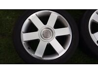 AUDI ALLOY WHEELS GENUINE 6 SPOKE A4 CONVERTIBLE WHEELS AND TYRES