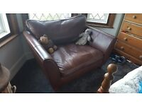 Marks and Spencer Brown Leather Love Seat