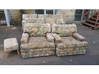 Sofa - 3 + 2 + 1 + 1 ( 7 Seater ) Floral Fabric Sofa Set