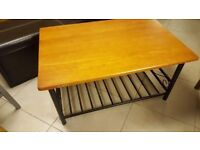 Pine Coffee Table With Decorative Metal Magazine / Newspaper Rack