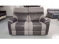 NEW ScS RALPH GREY TWO TONE 2 SEATER MANUAL RECLINER SOFA **CAN DELIVER**