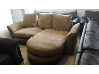 NEW Graded Contemporary Right Hand Corner 3 seater Sofa Jumbo Cord Fabric Free Local Delivery