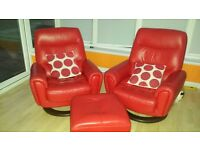 2 red leather chairs and matching footstool/table