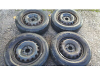 175 65 14 2 x steel wheels PCD 4 x 100 Vauxhall, renault and more...